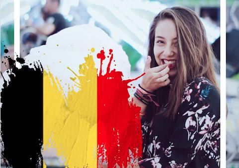 Smiling girl uses World Football Packs on PicsArt