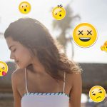 Photo of a girl with emoji stickers on world emoji day edited by picsart