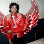Michael Jackson with red wings edited with PicsArt