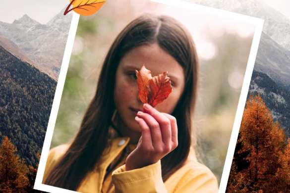 Girl holding an autumn leaf edited with PicsArt