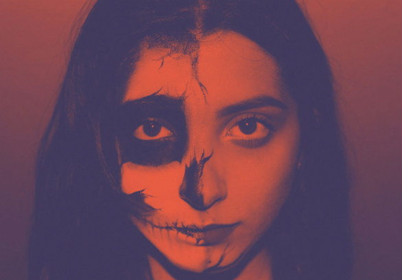 Halloween edits of a girl with Duotone filter