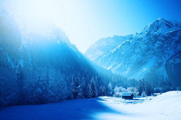 Winter Wonderland edit with mountains around the house