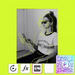 PicsArt Replay Of Sketch Effect with QR codes on the photo of a girl with lime background