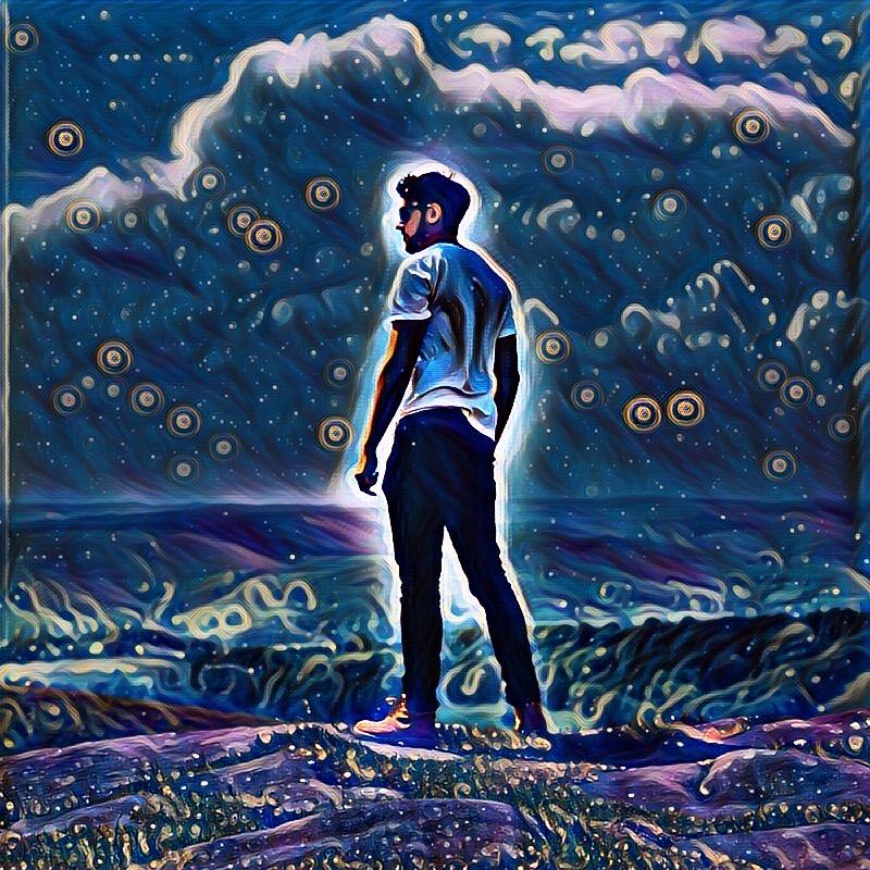 Edit of man made using PicsArt's Galaxy Magic Effect