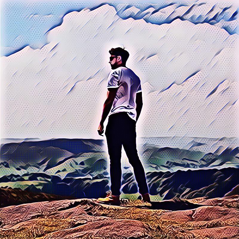 Edit of man made using PicsArt's Pow Magic Effect