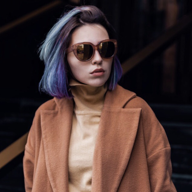 Photo of a girl with blue hair and coat before PicsArt edit