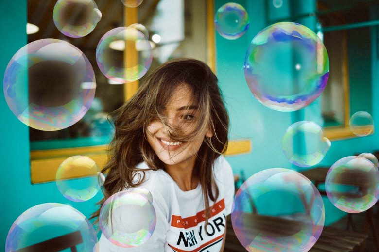 Bubble stickers on the photo of a girl