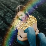 Photo of a girl edited with PicsArt Gold and Rainbow brushes