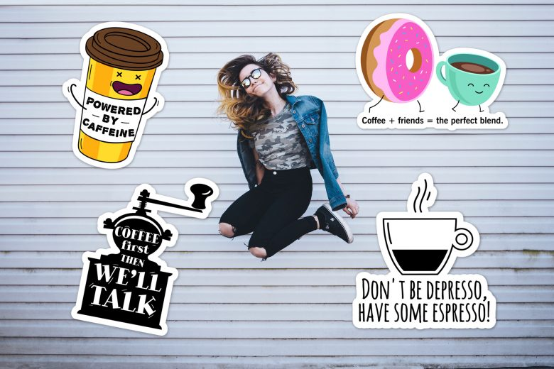 Jumping girl with coffee stickers