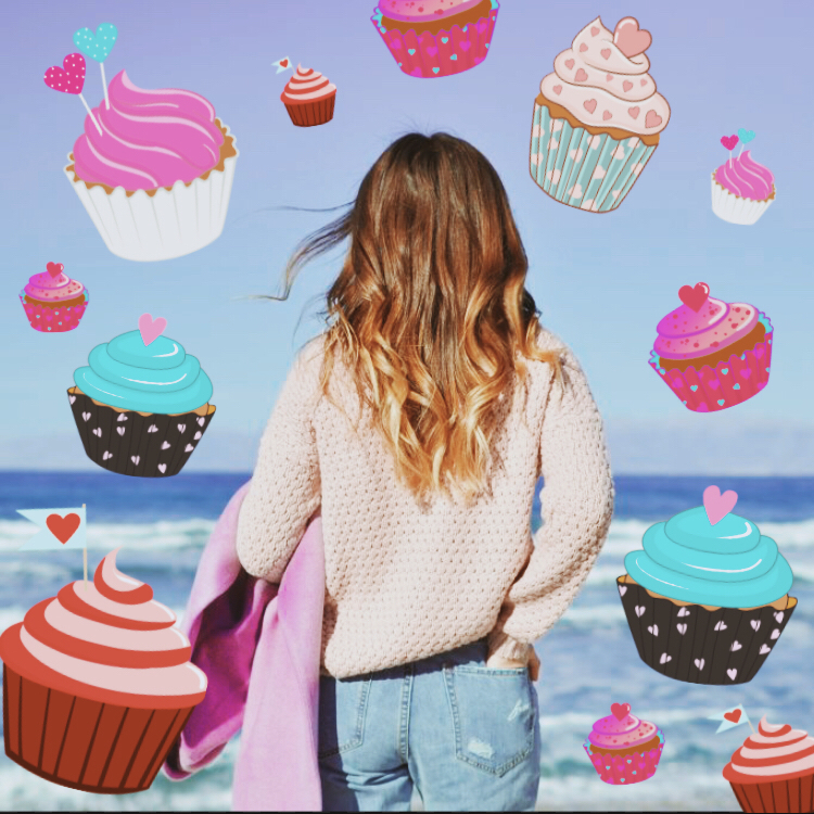Cupcake Stickers raining from the sky on the beach with girl