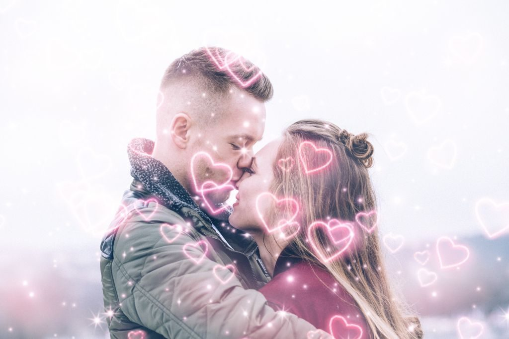 Cute couple with hearts