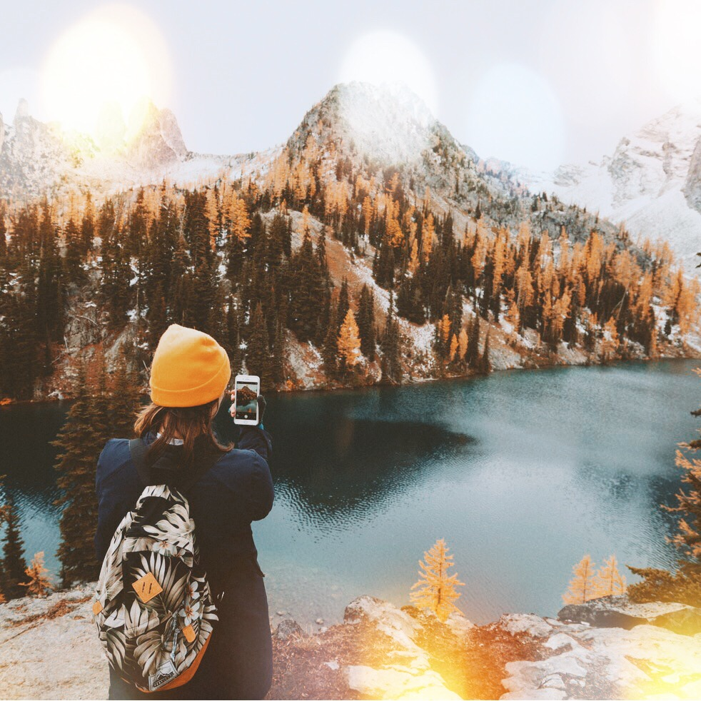 Girl Hiking photo with PicsArt Bokeh Mask