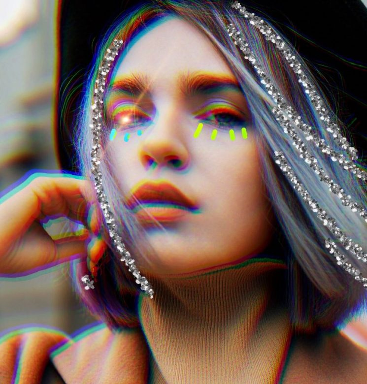 PicsArt photo edit of fashionable girl with with glittery hair