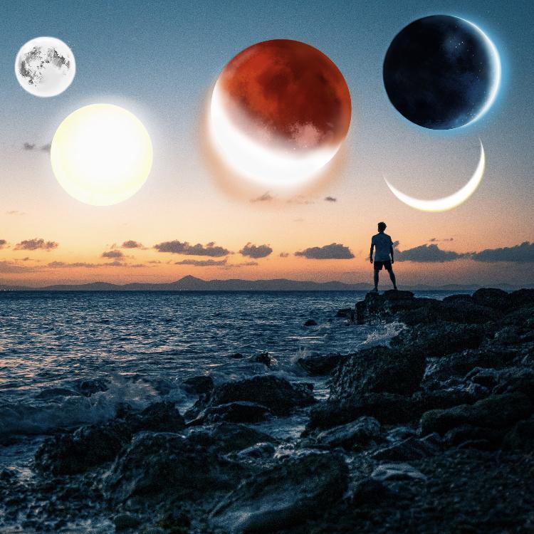 Surreal PicsArt galaxy photo edit of a man staring at the ocean