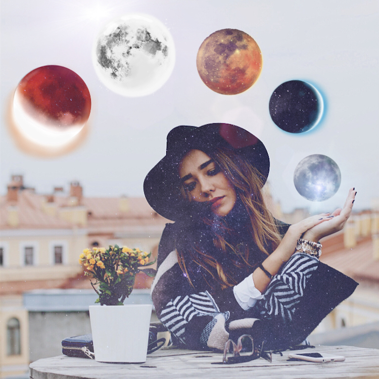 PicsArt 'To The Moon' Sticker Edit on the photo of a woman