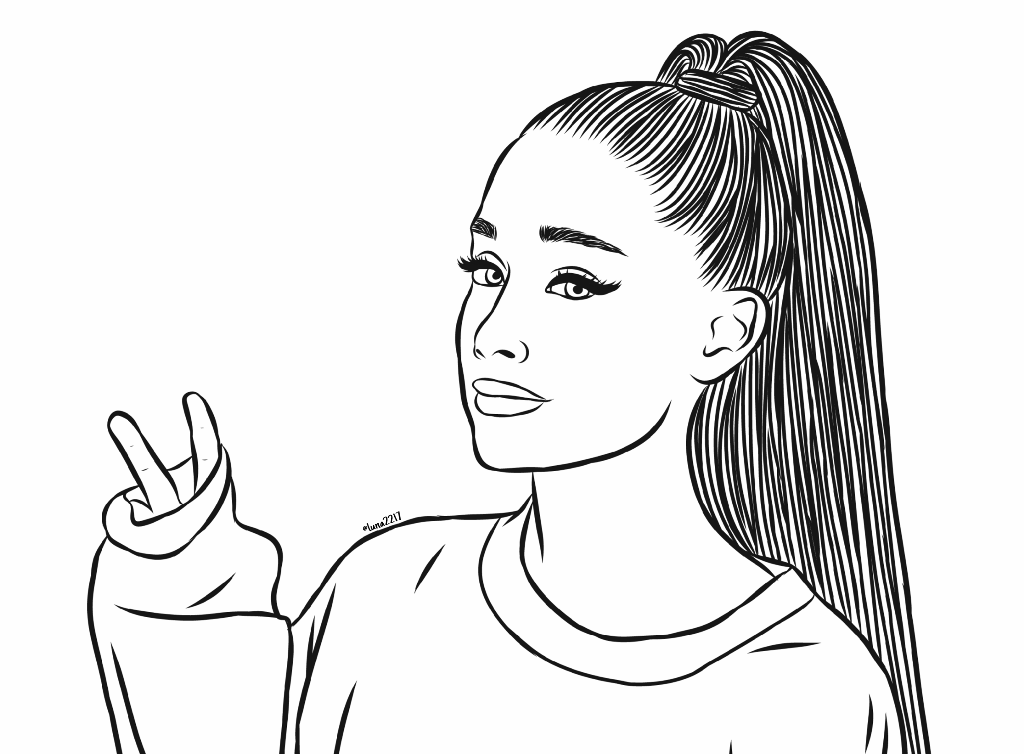 Outline drawing of Ariana Grande