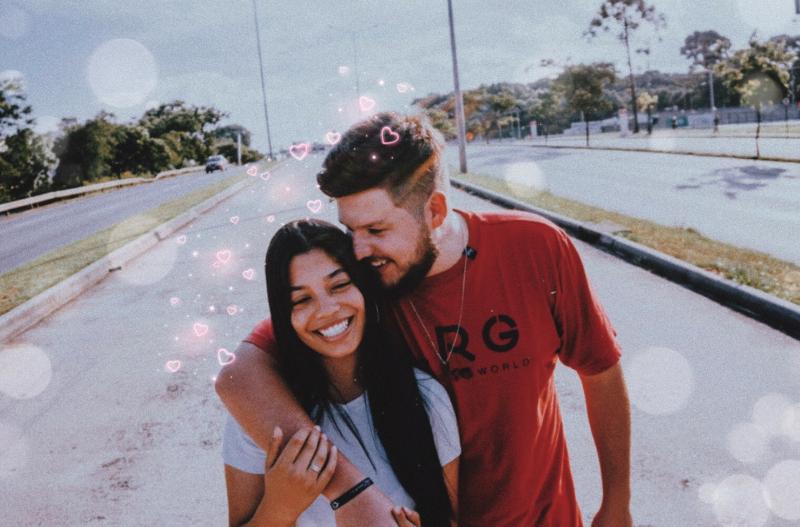 Cute aesthetic heart brush edit of couple
