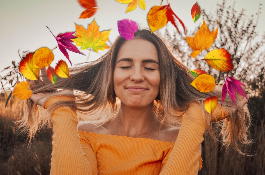 Fall leaves photo edit of woman in orange shirt
