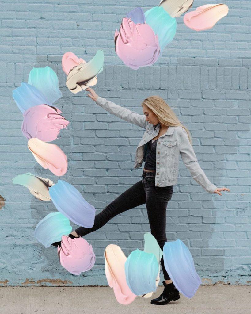 Pastel Paint Brush Edit of blonde girl