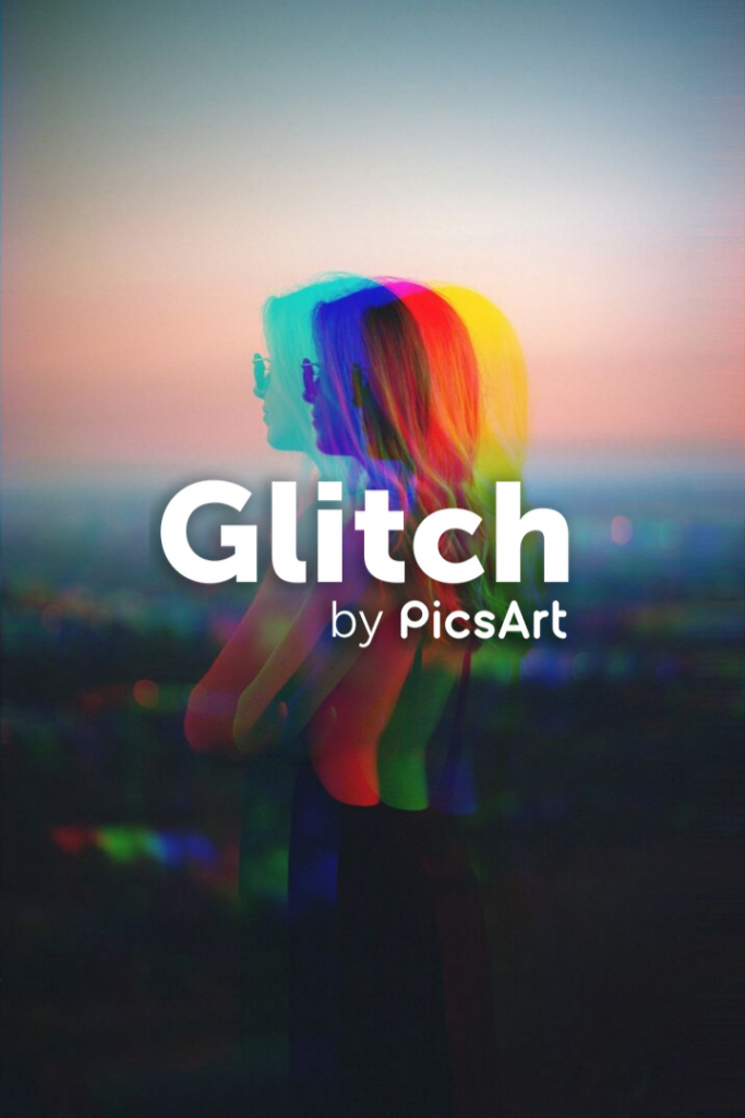 Glitch Effect on portrait photo of young woman