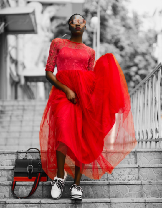 red dressed girl with color splash effect File name- girl with color splash effect