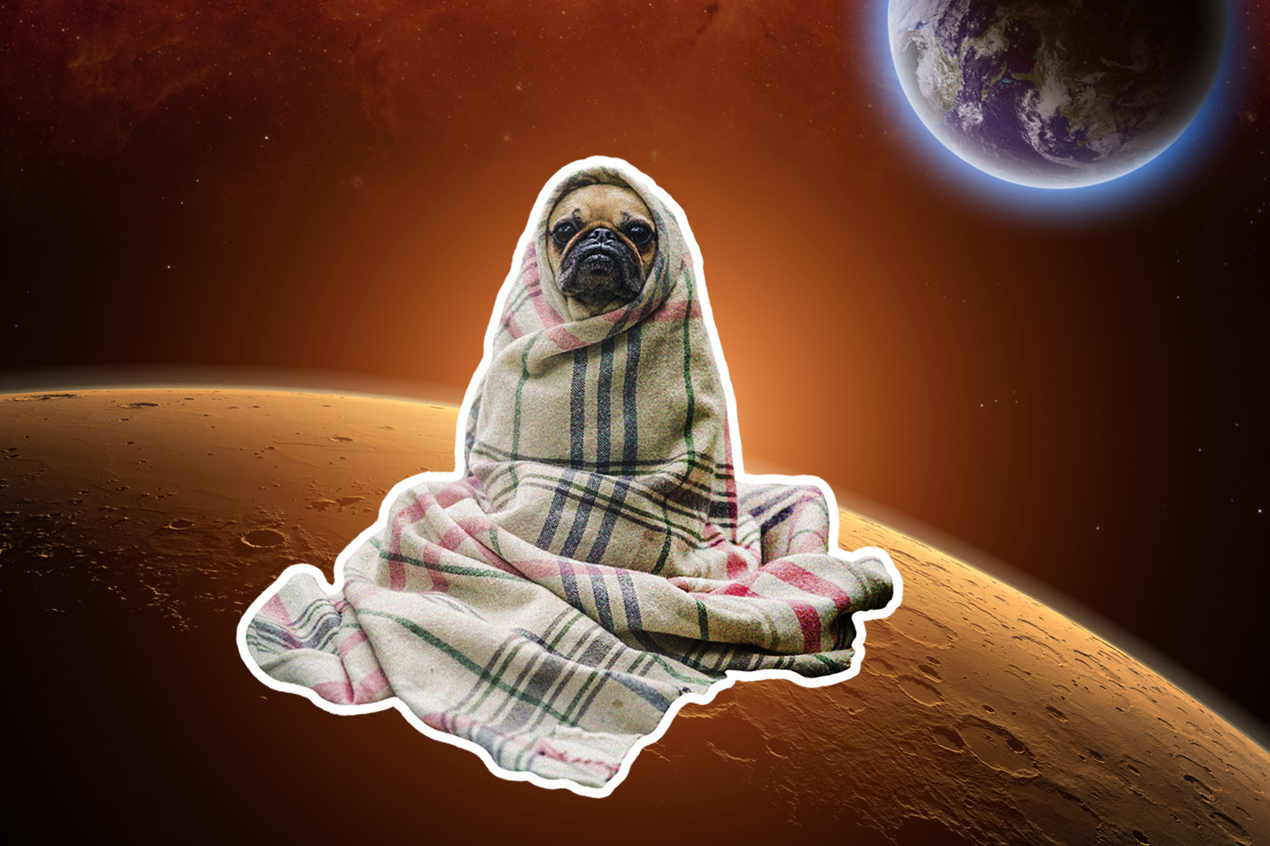 edit of pug sticker on the moon