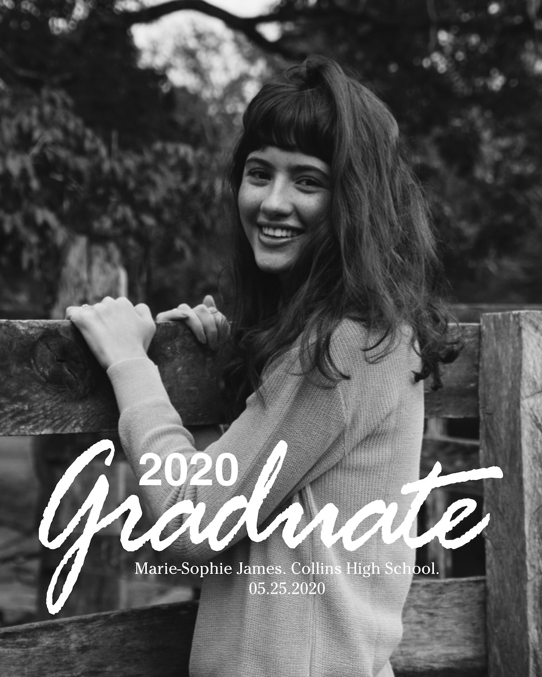 """""""2020 graduate"""" text on black and white girl image card"""