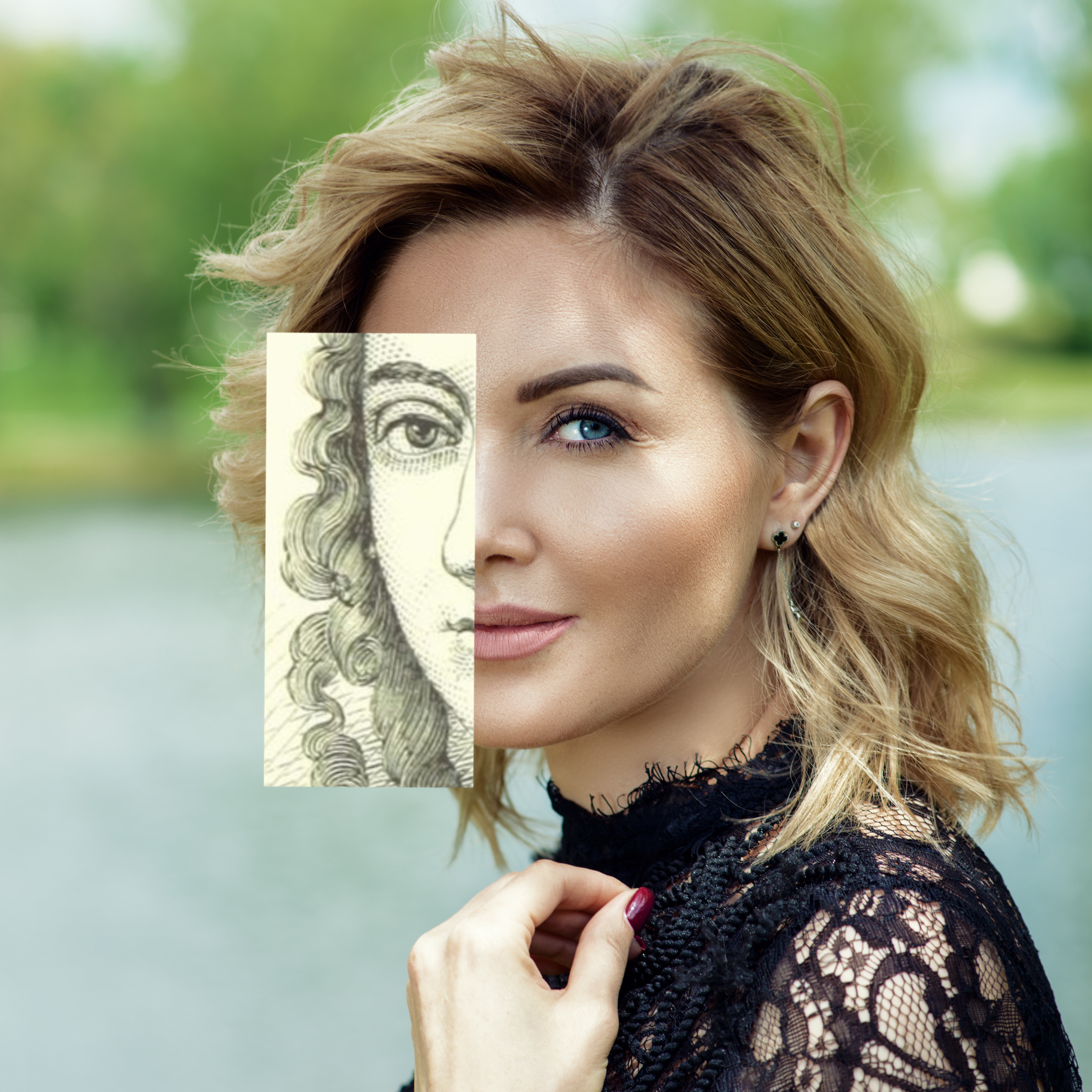 smiling blonde woman with canvas effect