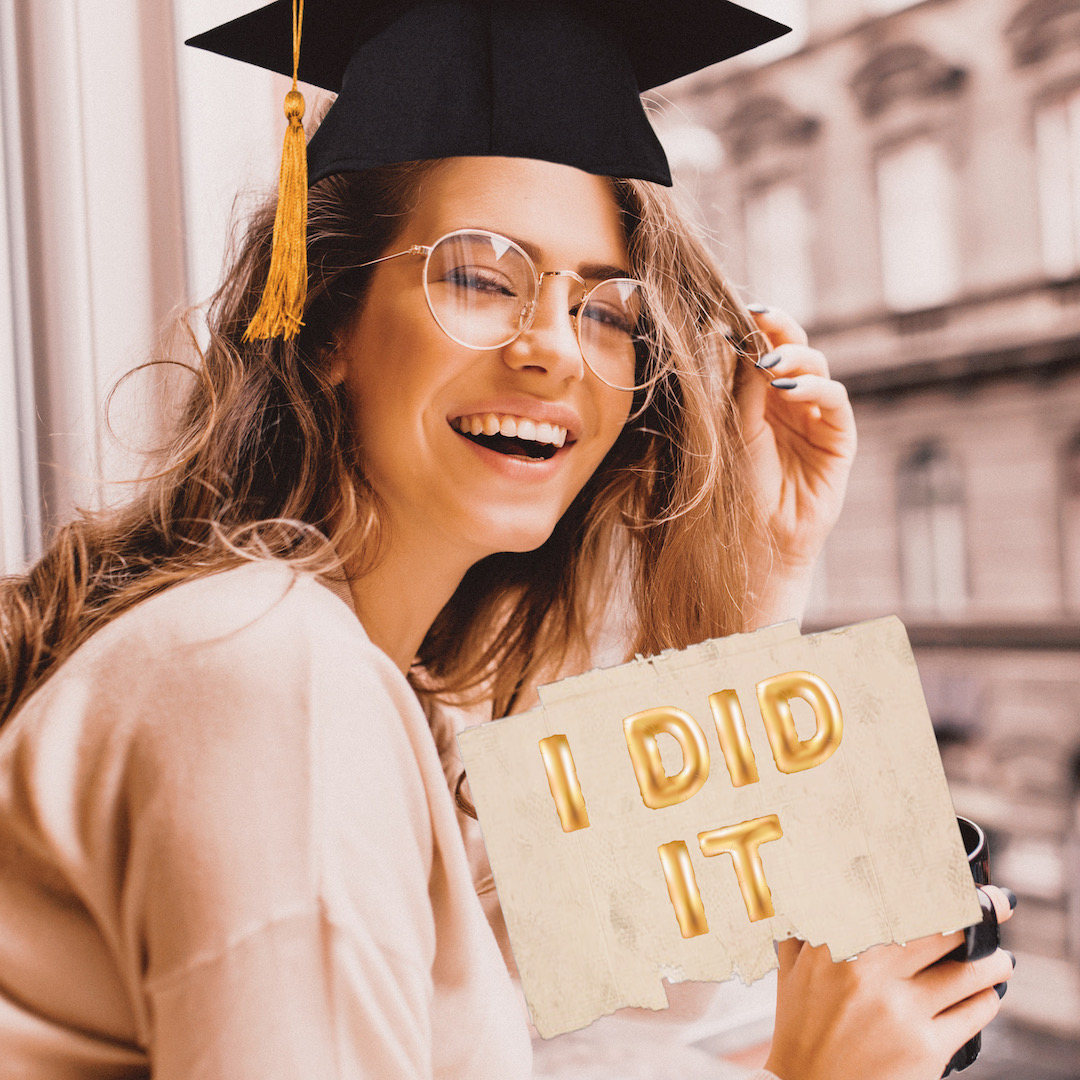 """smiling blonde girl with graduation & """"I did it"""" sticker"""