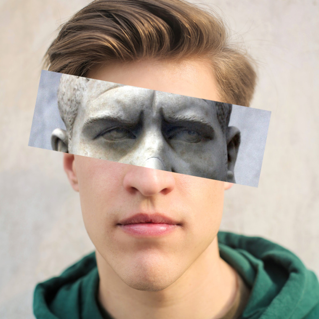 guy with sculpture canvas effect