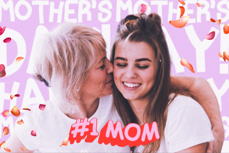 "mother kissing her daughter image with ""#1 mom"" stickers"