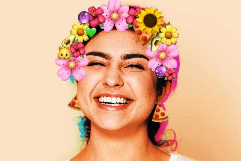 Girl wearing cute emoji crown sticker