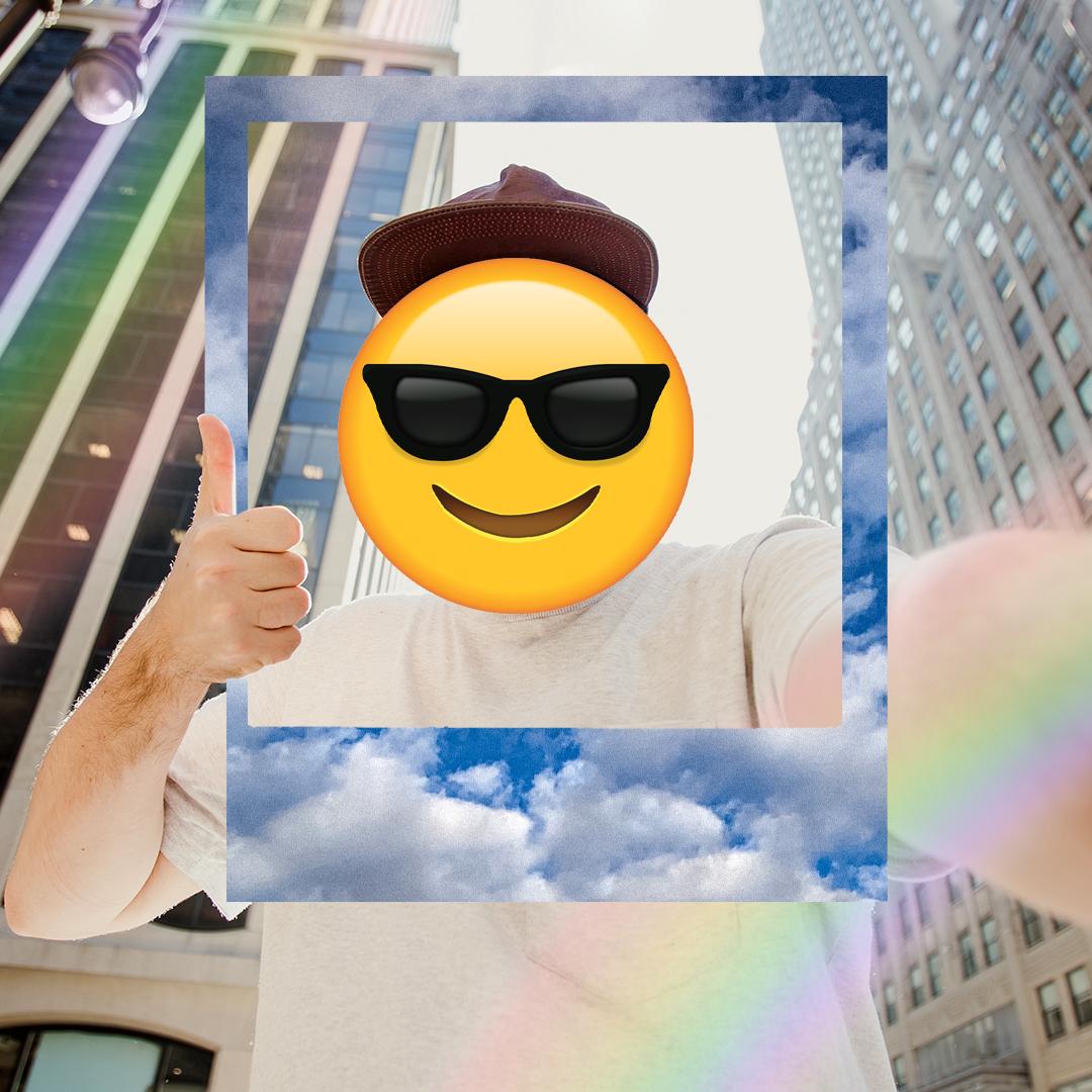 Funny sunglasses emoji face face swap