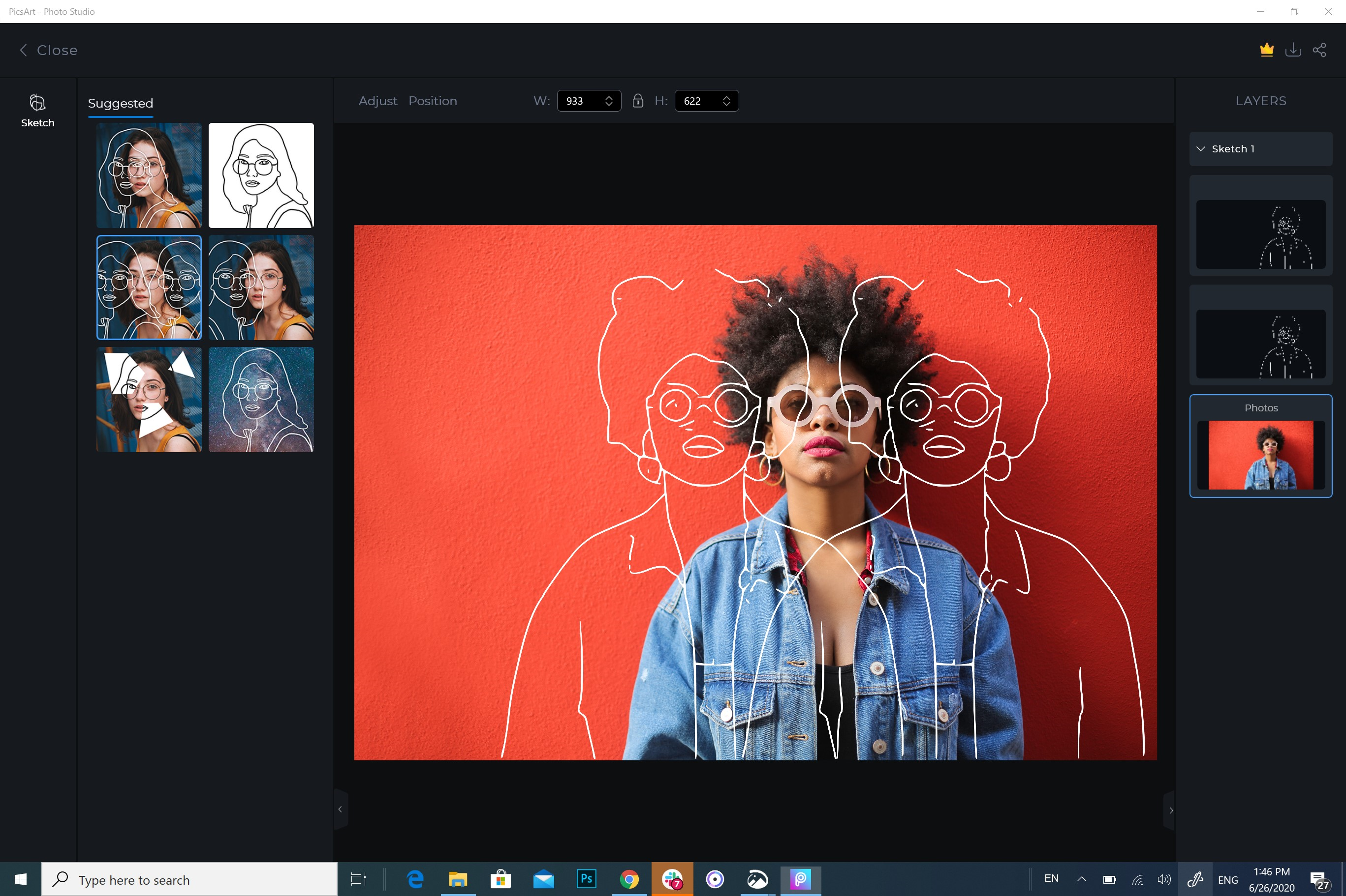 Windows PicsArt interface