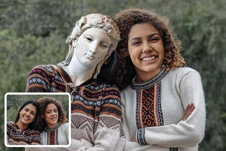 Face swap photo with girl and statue