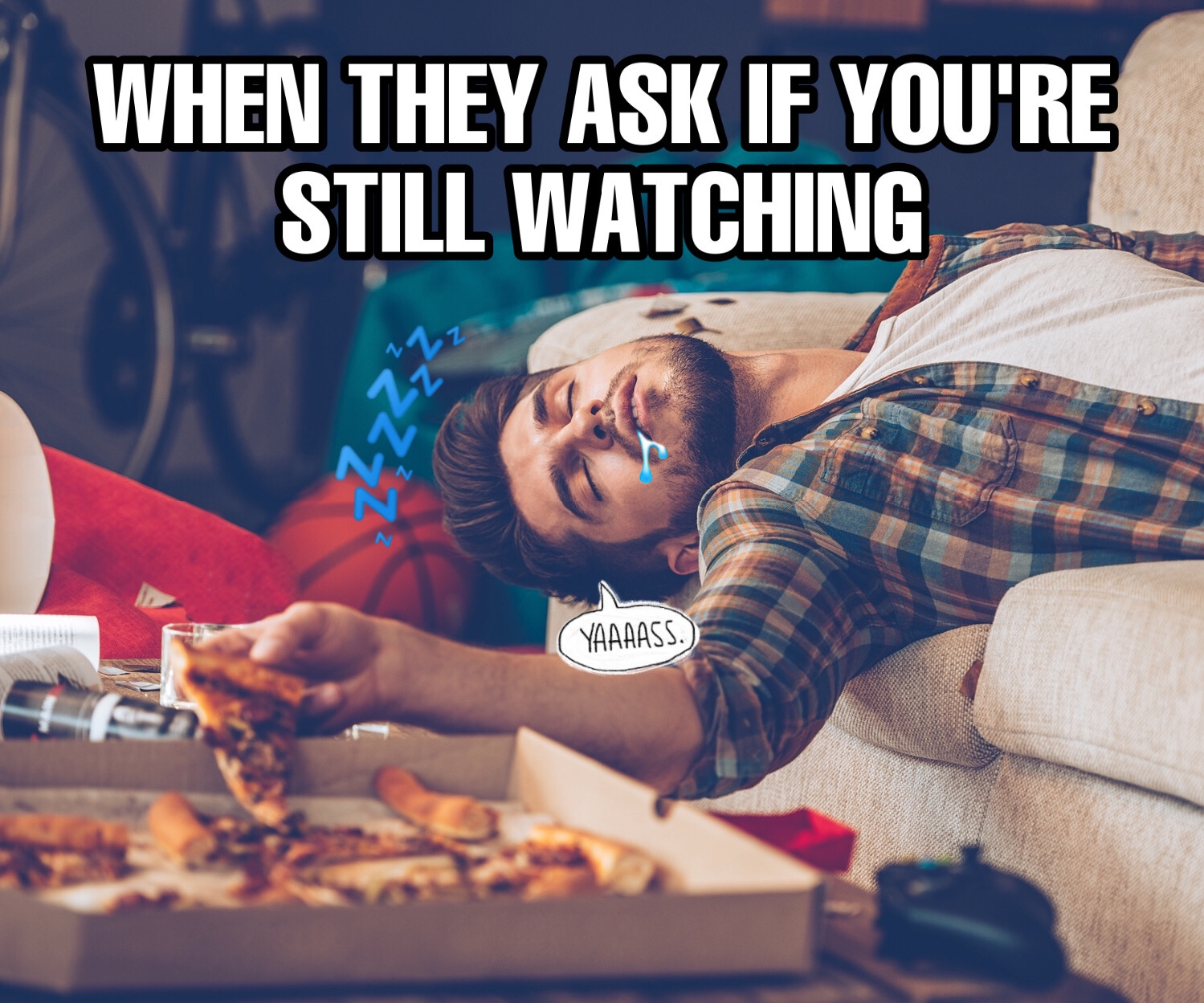 Meme of a guy asleep on the couch eating pizza made with meme maker tool