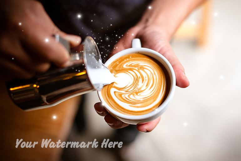 Watermark photo of cappuccino art made with photo editing app