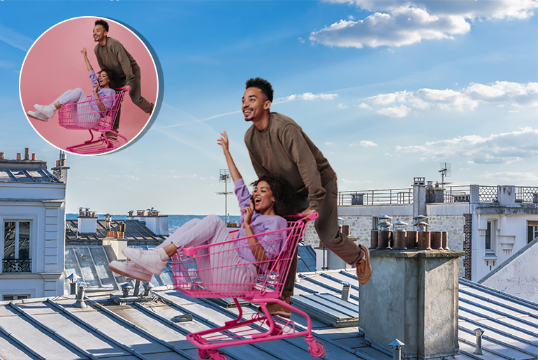 Before and after photo of girl and guy with different backgrounds