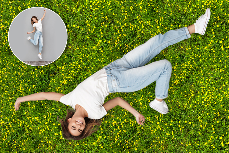 Before and after photo of girl lying on grass with different backgrounds