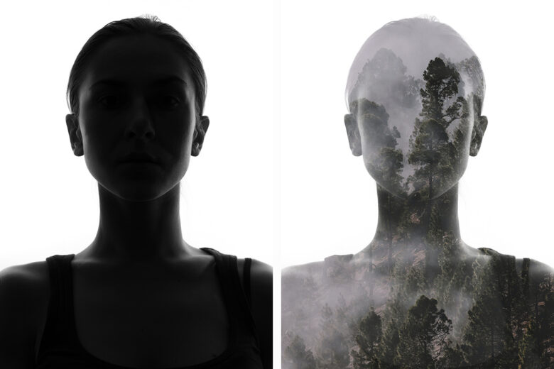 Double exposure before and after
