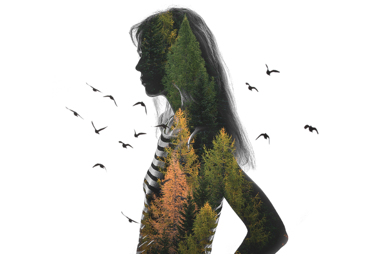Double exposure photo with girl made with photo editing app