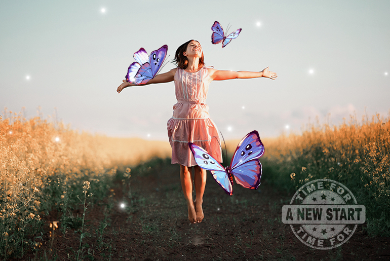 Watermark photo of a girl with butterflies