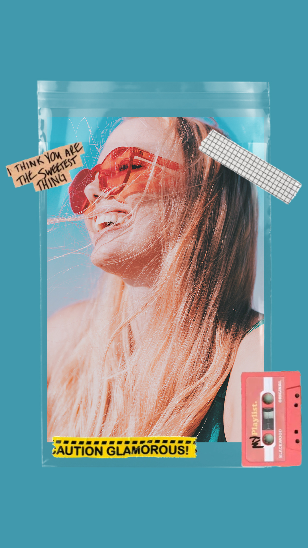 Instagram Story Background color with girl in sunglasses