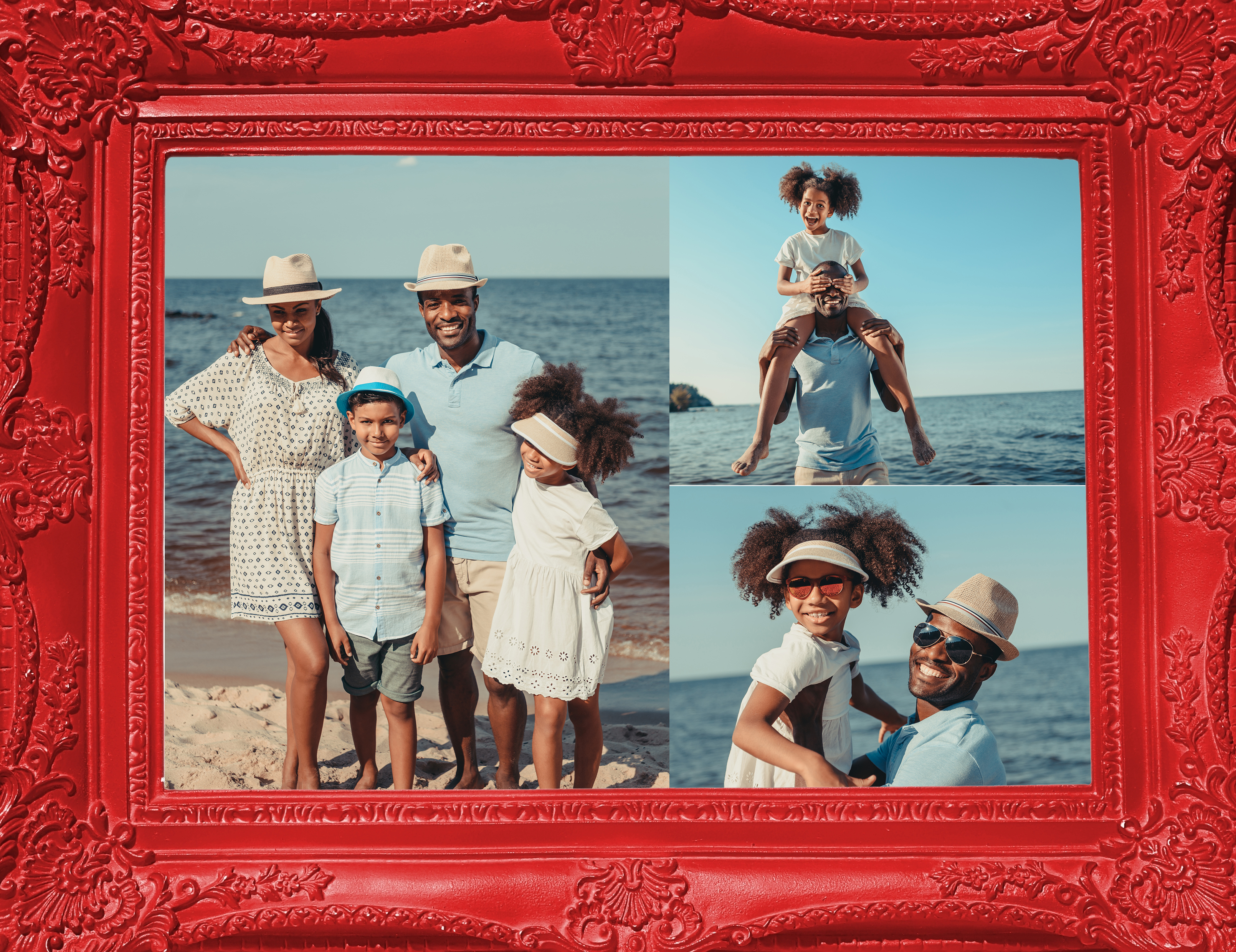 Red Frame Collage With Family