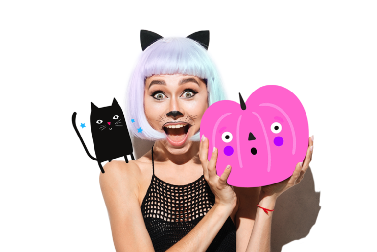 Halloween clipart with girl, black cat, cat ears, and pumpkin