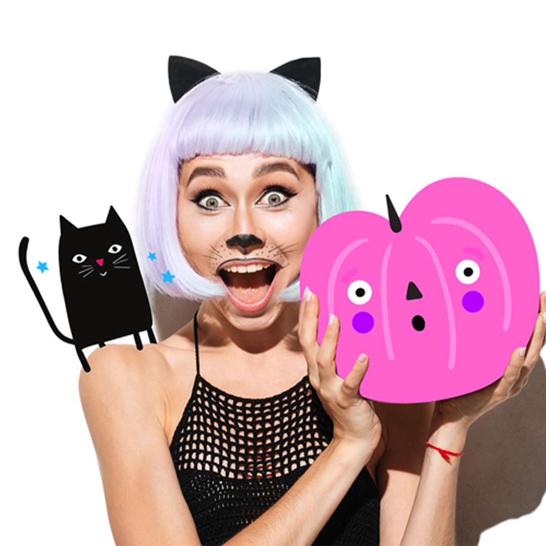 Halloween clipart edits with pumpkin and black cat
