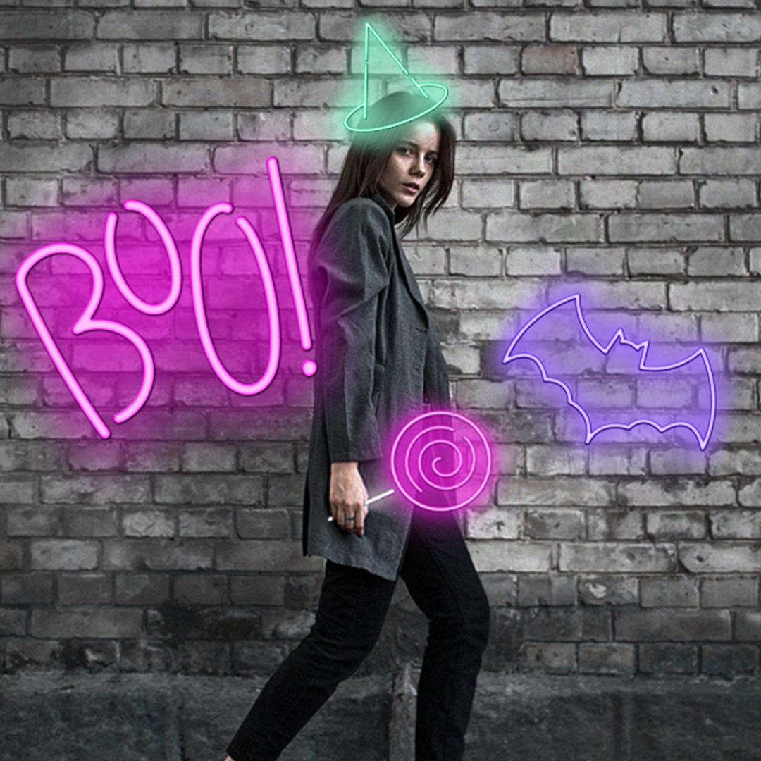Neon Halloween clipart edits