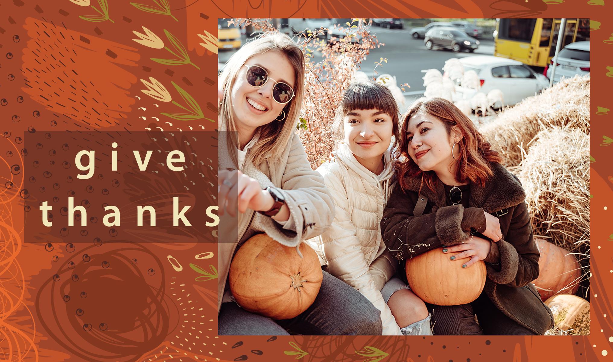 Thanksgiving selfie with pumpkins