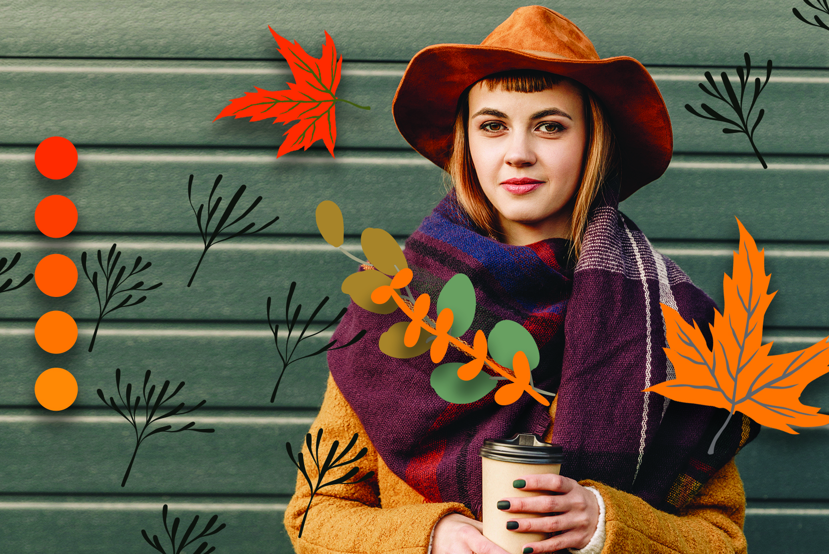 Fall photo with leaves and girl with hat