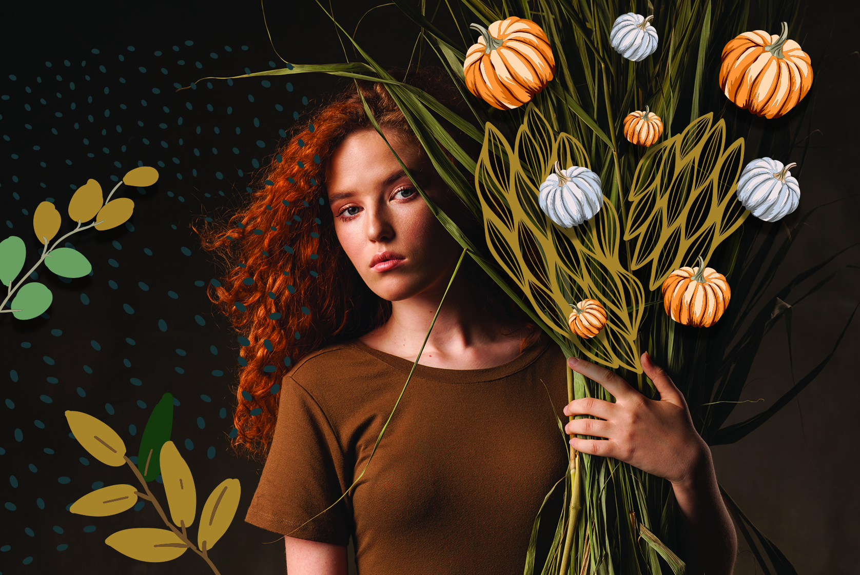 Fall photo with girl and pumpkins